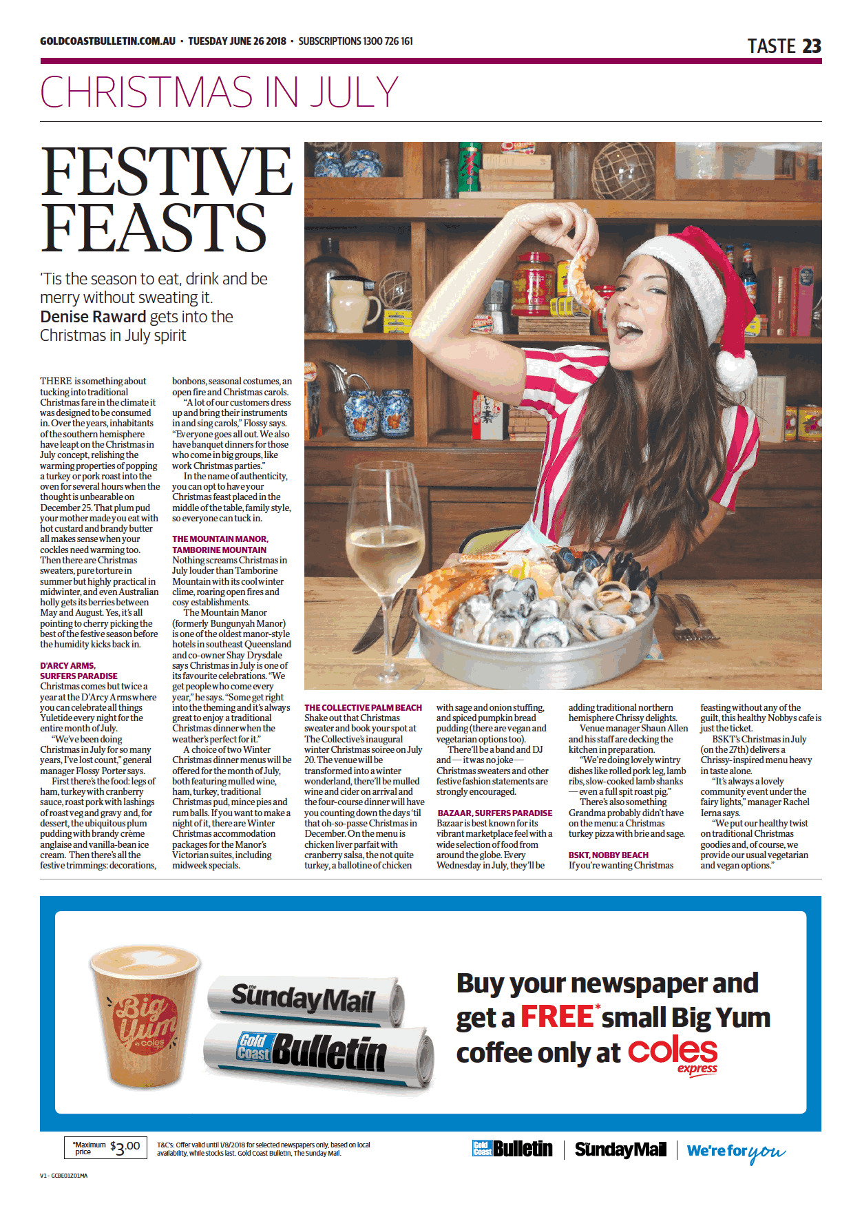 Gold Coast Bulletin - Christmas in July - D'Arcy Arms