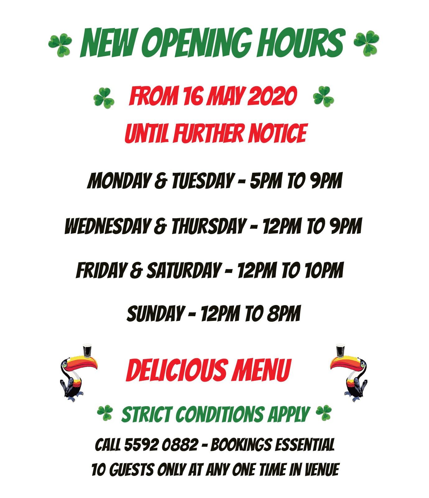 Darcy Arms New Opening Hours - May 2020